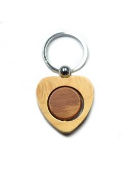 Porte clés bois coeur