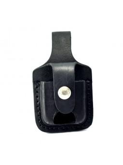 Pochette Zippo cuir noir