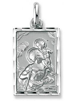 Médaille Argent Saint Christophe rectangulaire