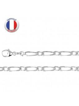 Collier argent rhodié - Maille alternée 1 +1 - Largeur 3.5 mm