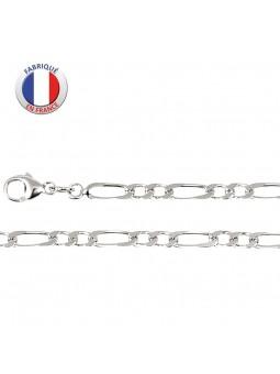 Collier argent rhodié - Maille alternée 2 +1 - Largeur 3.5 mm