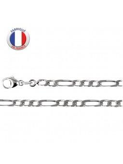 Collier argent rhodié - Maille alternée 3+1 - Largeur 3.5 mm