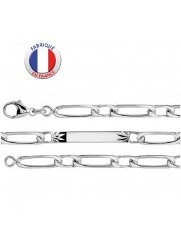 Bracelet argent 925/1000 - Maille alternée 1/1 - 19 cm - plaque étoilée