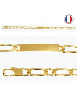 Gourmette plaqué or - Maille alternée - 6 mm