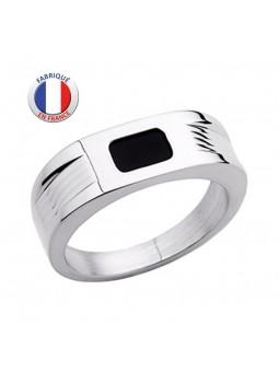 Chevalière Altesse - Argent 925 - Forme anneau - Laque Noire