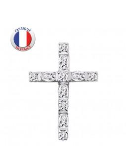 Croix argent empierrée oxyde de zirconium