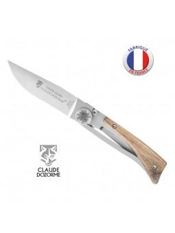 Couteau ALPIN - Claude Dozorme - Bois Noyer - Gravure Edelweiss