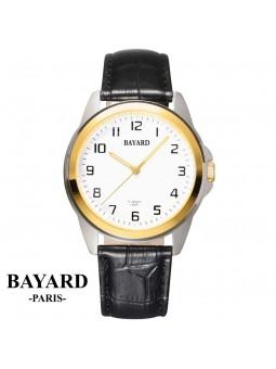 Montre sur cuir mécanique balancier apparent - Bayard Paris - Acier bicolore