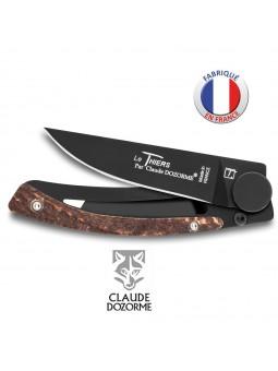 Couteau Liner Lock Le Thiers - Claude Dozorme - Bois de Cerf - Revêtement Noir