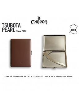 Etui à cigarettes - TSUBOTA - Gainé cuir lisse Marron