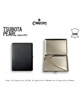 Etui à cigarettes - TSUBOTA - Gainé cuir lisse Noir
