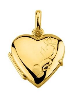 Pendentif porte photo - Coeur plaqué or