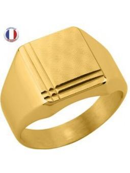 Chevalière plaqué or - plaque carré