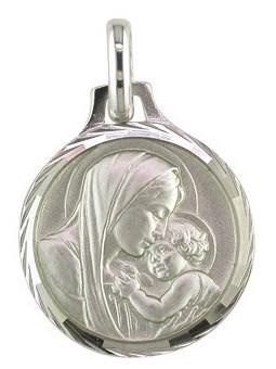 Médaille Argent Vierge et enfant ronde