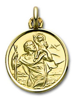 Médaille Or Saint Christophe ronde