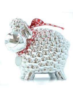 Tirelire mouton avec petite médaille argent