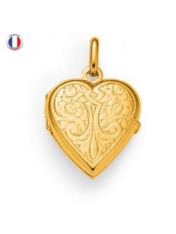 Pendentif coeur porte photo plaqué or