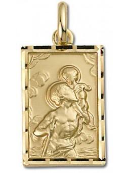 Médaille Plaqué or Saint Christophe rectangulaire