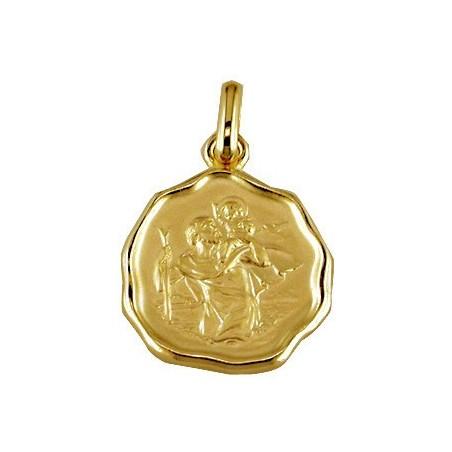 Médaille Plaqué or Saint Christophe cachet de cire