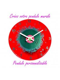 Pendule personnalisable fond rouge
