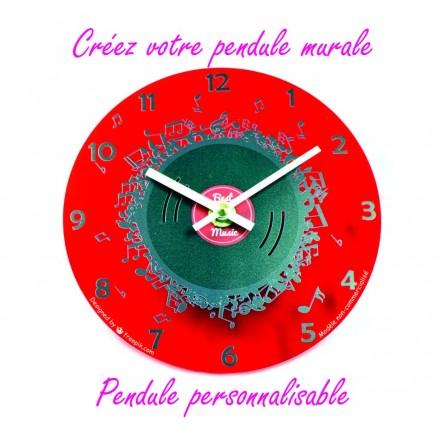 Pendule personnalisable fond rouge - Art3Zem