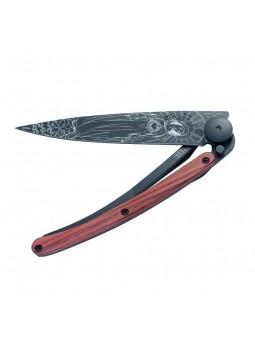 Couteau DEEJO BLACK TATTOO Madone - bois de rose