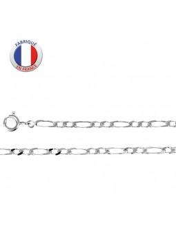 chaîne fine argent rhodié - Maille alternée 2 +1 - Largeur 2,5 mm