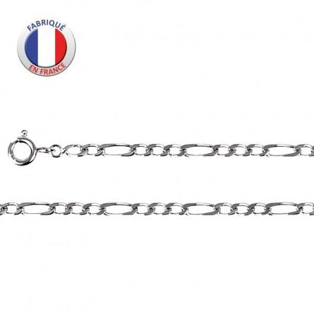 chaîne fine argent rhodié - Maille alternée 3 +1 - Largeur 2,5 mm