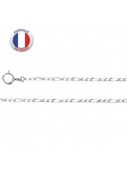 chaîne fine argent rhodié - Maille alternée 2 +1 - Largeur 2,2 mm