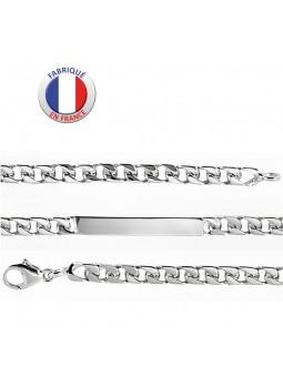 Bracelet argent 925/1000 - Maille gourmette - Plaque unie