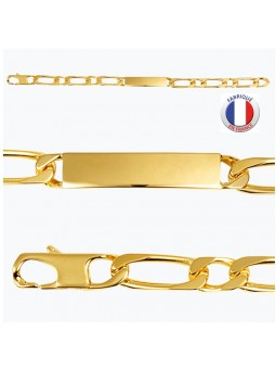 Gourmette plaqué or - Maille alternée - 8 mm
