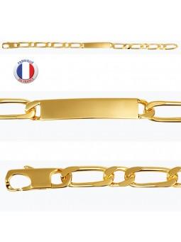 Gourmette plaqué or - Maille alternée - 7 mm