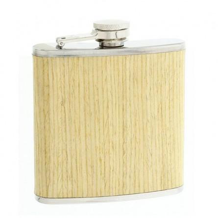 Flasque inox 180 ml - Gainée hêtre