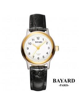 Montre dame sur cuir mécanique - Bayard Paris - Acier bicolore