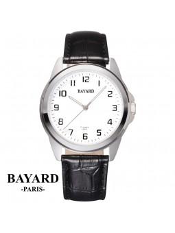 Montre Homme sur cuir mécanique - Bayard Paris - Acier