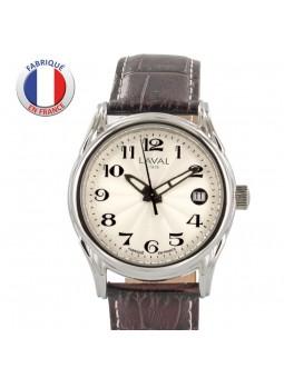 Montre Homme Automatique - LAVAL Paris - Acier - Bracelet cuir