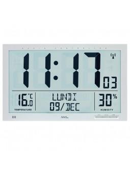 Pendule LCD murale - AMS -  Radio-pilotée - Affichage complet du jour et de la date