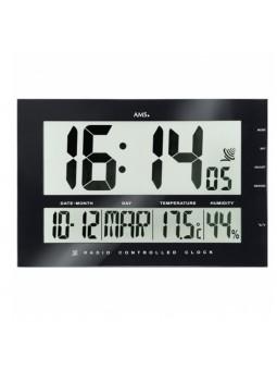 Pendule LCD murale - Noire - AMS -  Radio-pilotée - Fonction réveil