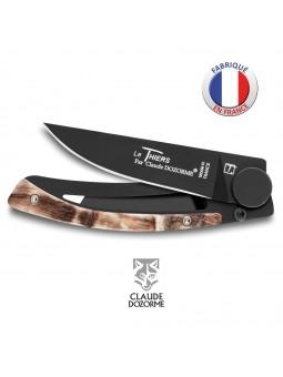 Couteau Liner Lock Le Thiers - Claude Dozorme - Corne de bélier - Revêtement Noir