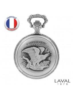 Montre gousset avec couvercle - LAVAL Paris - Motif Moto