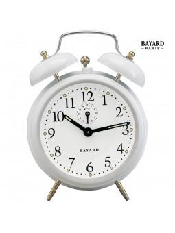 Réveil mécanique à cloches - Bayard - Laqué blanc