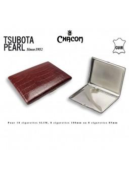 Etui à cigarettes - TSUBOTA - Gainé cuir Marron