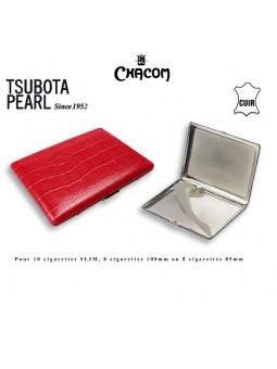 Etui à cigarettes - TSUBOTA - Gainé cuir Rouge
