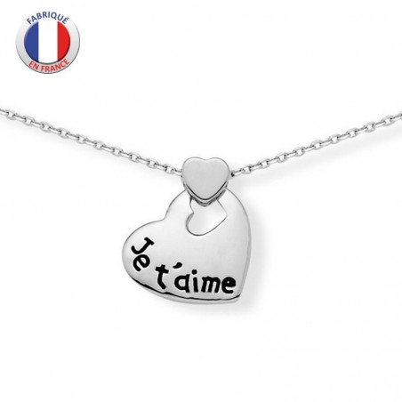 """Collier argent cœur """"je t'aime"""""""