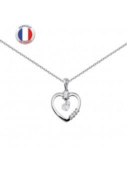 Collier  coeur argent avec oxyde - Altesse
