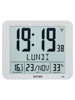 Pendule LCD murale - Blanc - BAYARD -  Radio-pilotée