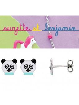 Boucles d'oreilles argent - Panda -  Email