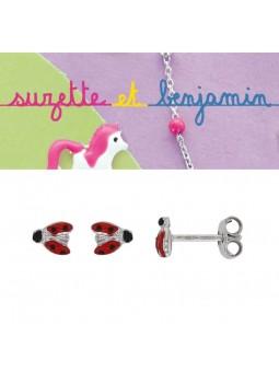 Boucles d'oreilles argent - Coccinelle -  Email rouge