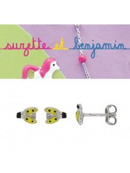 Boucles d'oreilles argent - Coccinelle -  Email jaune