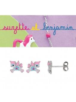 Boucles d'oreilles argent - Licorne -  Email rose et turquoise